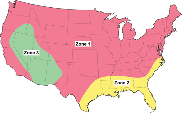 Figure 1 - Climate Zone Map (adapted from Forest Products Laboratory 2010 Wood Handbook)